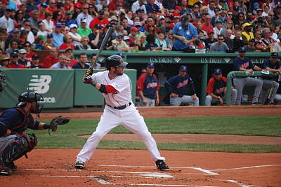 Dustin Pedroia Of The Red Sox Art Print by Alan Holbrook