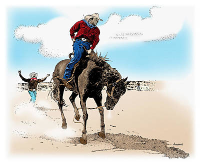Rodeo Art Drawing - Dusty Buckles by Joseph Juvenal