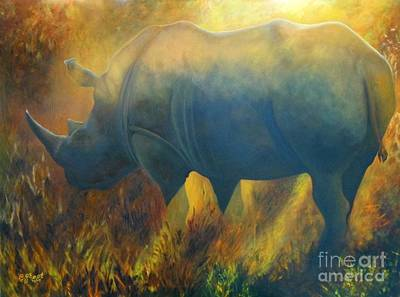 Poaching Painting - Dusty Rhino by Caroline Street