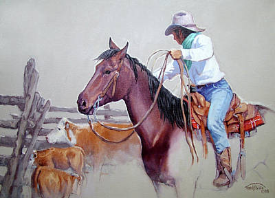 Roping Horse Painting - Dusty Work by Randy Follis