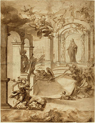 Wash Drawing - Dutch 17th Century, Allegory In Honor Of A Gentleman by Litz Collection