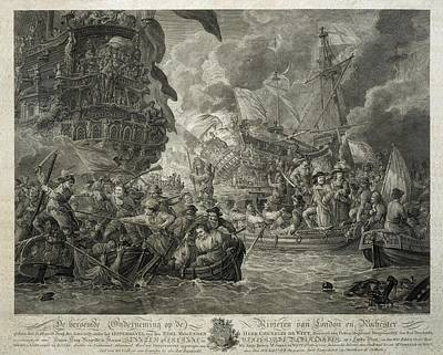 Dutch Attack On The Medway, June 1667 Art Print by Everett