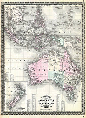 Cartography Painting - Dutch East Indies Australia And New Zealand. by Celestial Images