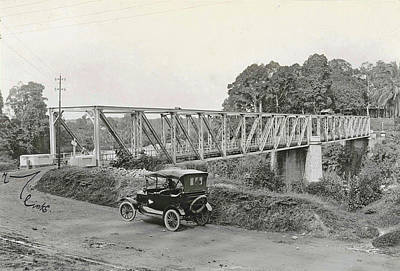 Indy Car Drawing - Dutch East Indies, Indonesia, Bridge Over Batang Toro Car by Artokoloro