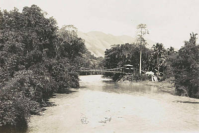 Suspension Drawing - Dutch East Indies, Indonesia, River Godang With Suspension by Artokoloro