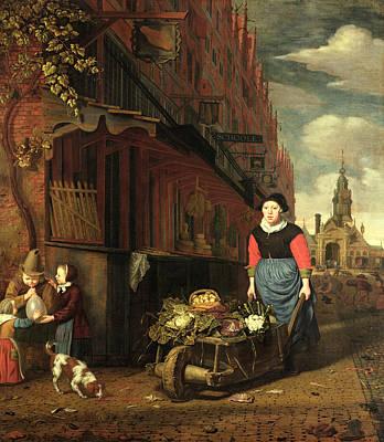 Dutch Genre Scene, 1668 Oil On Panel Art Print by Michiel van Musscher