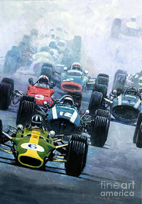 Starts Painting - Dutch Gp 1967 Zandvoort by Yuriy Shevchuk