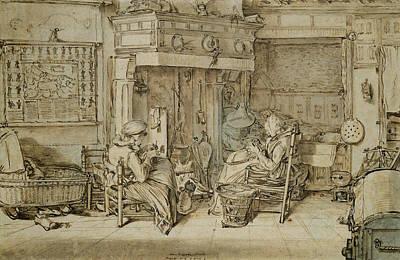 Dutch Interior, 1617 Pen, Ink And Brush On Paper Print by Willem Pietersz Buytewech