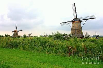 Netherlands Landscape Photograph - Dutch Landscape With Windmills by Carol Groenen