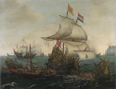 Dutch Ships Running Down Spanish Galleys Off The English Art Print