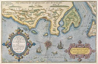 Coastline Drawing - Dutch Trade Map Of The Baltic Sea Hand-coloured Engraving by Dutch School