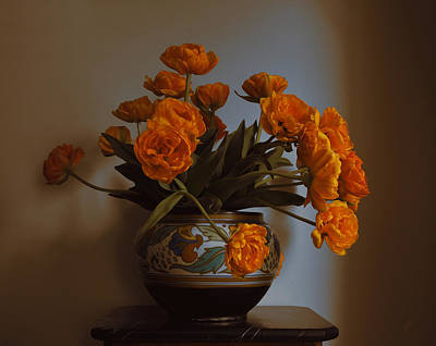 Holland Photograph - Dutch Vase With Dutch Orange Tulips by Nop Briex