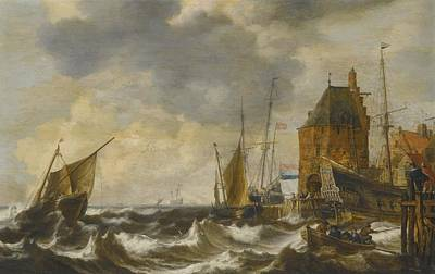 Dutch Vessels And A Rowing Boat Art Print