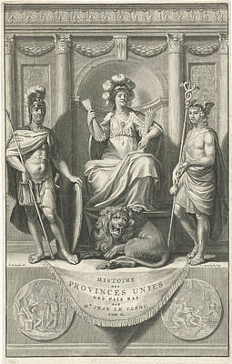 Mercury Drawing - Dutch Virgin Flanked By Mars And Mercury by Johannes Willemsz. Munnickhuysen And Gerard De Lairesse And Zacharias Chatelain I