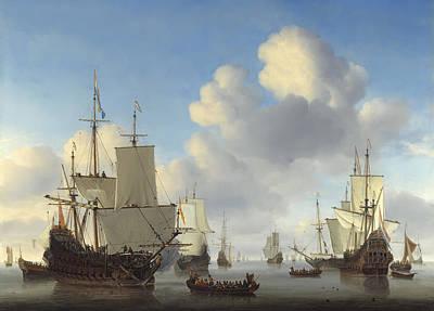 Dutch War Ships On Calm Seas  C. 1665 Art Print by Daniel Hagerman