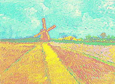Painting - Dutch Windmill And Flower Fields 1 by Richard W Linford