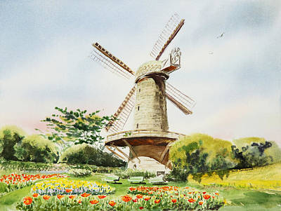 Golden Gate Painting - Dutch Windmill In San Francisco  by Irina Sztukowski