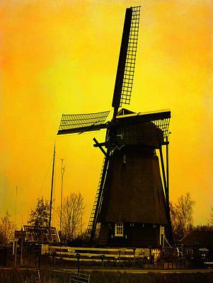 Dutch Windmill - Yellow Art Print by Yvon van der Wijk