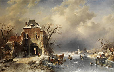 Charles River Painting - Dutch Winter Landscape by Charles Leickert