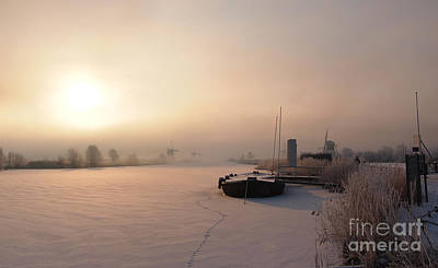 Photograph - Dutch Winter Sunrise With A Boat by IPics Photography