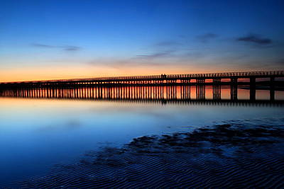 Beach Royalty-Free and Rights-Managed Images - Duxbury Beach Powder Point Bridge Twilight by John Burk