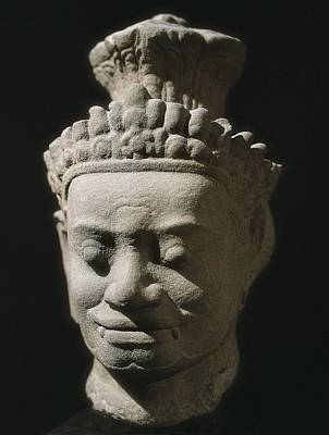 Statue Portrait Photograph - Dvarapala. End 12th-beg. 13th C. Bayon by Everett