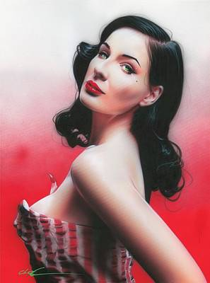 Burlesque Painting - Dita Von Teese - ' D. V. T. ' by Christian Chapman Art