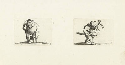Crutch Drawing - Dwarf, From The Front, Leaning On A Crutch, A Hood Or Large by Jacques Callot