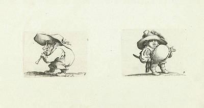 Grotesque Drawing - Dwarf With Flute Flageolet Dwarf With Sword by Jacques Callot And Abraham Bosse