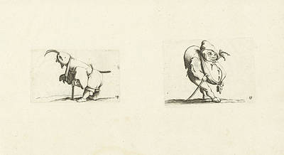 Sling Drawing - Dwarf With Sling, Stool And Sword Dwarf With Walking Stick by Jacques Callot And Abraham Bosse