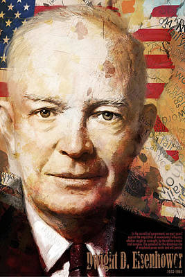 Politicians Paintings - Dwight D. Eisenhower by Corporate Art Task Force