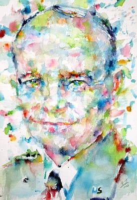 Eisenhower Painting - Dwight D. Eisenhower - Watercolor Portrait by Fabrizio Cassetta