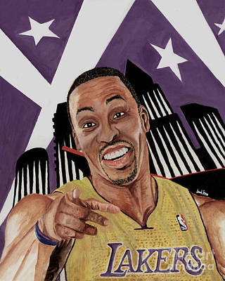 Lakers Painting - Dwight Howard Welcome To The  Lake Show by Israel Torres