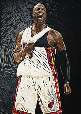 Dwyane Wade Art Digital Art - Dwyane Wade by Taylan Apukovska