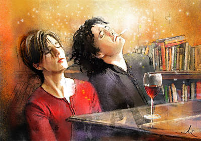 Comedian Drawings - Dylan Moran and Tamsin Greig in Black Books by Miki De Goodaboom