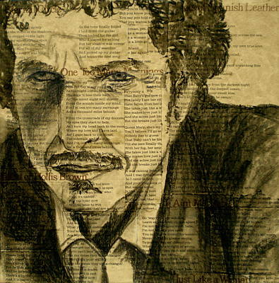 Rolling Stone Drawing - Dylan The Poet by Debi Starr