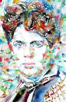Dylan Thomas - Watercolor Portrait Art Print by Fabrizio Cassetta