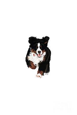 Dog Running Painting - Dylon Rocks Phone by Liane Weyers