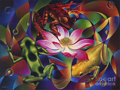 Lilies Royalty Free Images - Dynamic Frogs Royalty-Free Image by Ricardo Chavez-Mendez