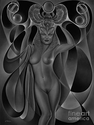 Nudes Paintings - Dynamic Queen V-Black and White by Ricardo Chavez-Mendez