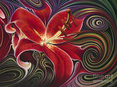 Lilies Royalty Free Images - Dynamic Reds Royalty-Free Image by Ricardo Chavez-Mendez