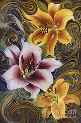 Lilies Royalty Free Images - Dynamic Triad Royalty-Free Image by Ricardo Chavez-Mendez