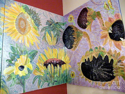 Painting - Dyptich Corner Sunflower by Vicky Tarcau