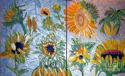 Painting - Dyptich Sunflower by Vicky Tarcau