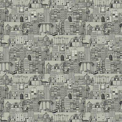 Destruction Drawing - Dystopian Toile De Jouy Mono by Sharon Turner
