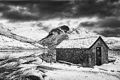Llyn Y Dywarchen Photograph - Dywarchen Dawn Bw by Graeme Pettit