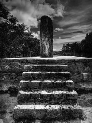 Photograph - Dzibilchaltun Monolith 001 Bw by Lance Vaughn