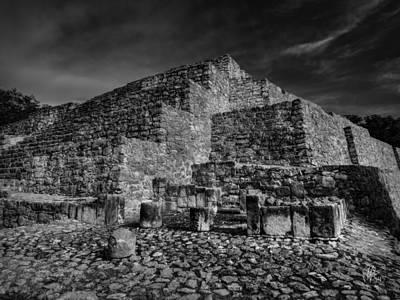 Historic Photograph - Dzibilchaltun Pyramid 001 Bw by Lance Vaughn