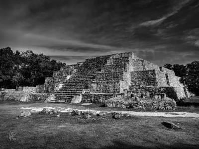 Photograph - Dzibilchaltun Pyramid 002 Bw by Lance Vaughn