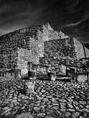 Photograph - Dzibilchaltun Pyramid 003 Bw by Lance Vaughn